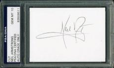 Neil Armstrong Signed 2.5X3.5 Cut Autograph Graded Gem Mint 10! PSA Slabbed 2