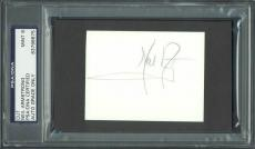 Neil Armstrong Signed 2.5x3.5 Cut w/ Graded Mint 9 Autograph! PSA/DNA Slabbed