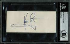 Neil Armstrong Signed 2.5x5 Cut Signature Autographed BAS Slabbed