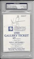 """Neil Armstrong Signed 3"""" x 4.5"""" Ticket Apollo 11 Astronaut Autograph PSA/DNA"""