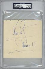 Neil Armstrong Signed Autographed 4x5 Album Page w Apollo 11 Inscription PSA/DNA