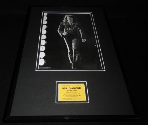 Neil Diamond Framed 12x18 Woburn Abbey Ticket RP & Photo Set