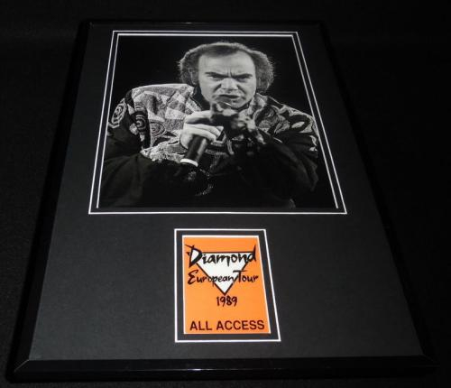 Neil Diamond Framed 1989 European Tour All Access Pass Ticket RP & Photo Set
