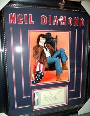 Neil Diamond Music Legend Signed Autographed Double Matted & Framed Psa/dna Coa