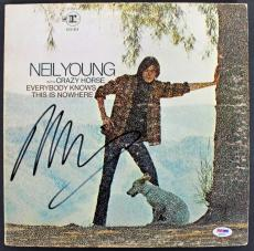 Neil Young Signed 'Everybody Knows This Is Nowhere' Album Cover PSA/DNA #AB81057