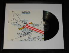 Neil Young Signed Framed 1986 Landing on Water Record Album Display JSA