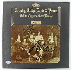 Neil Young & Stephen Stills Signed Deja Vu Album Cover PSA #AB43085