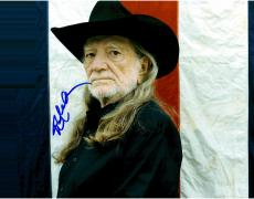 Willie Nelson Autographed 11'' x 14'' Red White Blue Photograph