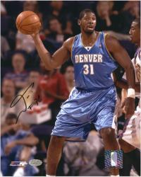 """Nene Hilario Denver Nuggets Autographed 8"""" x 10"""" Ball In Hand Photograph"""
