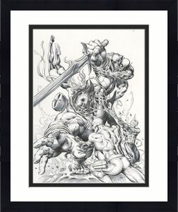 """New Avengers #23 Cover By Mike Deodato,jr. Comic Art 11"""" X 14.5"""