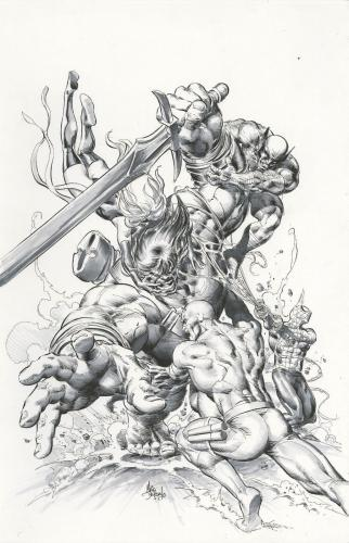 "New Avengers #23 Cover By Mike Deodato,jr. Comic Art 11"" X 14.5"