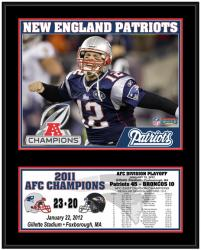 New England Patriots 2011 AFC Conference Champions Sublimated 12'' x 15'' Plaque - Mounted Memories