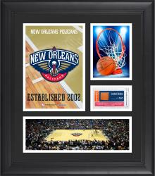 """New Orleans Pelicans Team Logo Framed 15"""" x 17"""" Collage with Team-Used Baseketball"""
