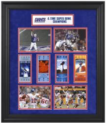 New York Giants Framed Super Bowl Ticket 24'' x 27'' Collage - Mounted Memories