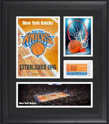 "New York Knicks Team Logo Framed 15"" x 17"" Collage with Team-Used Baseketball"