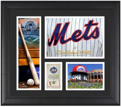 New York Mets Team Logo Framed 15'' x 17'' Collage with Piece of Game-Used Ball - Mounted Memories