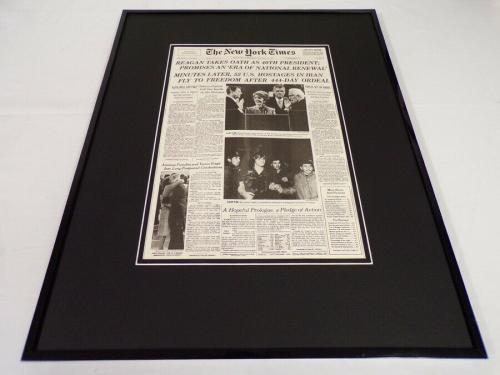 New York Times Jan 21 1981 Framed 16x20 Front Page Poster Ronald Reagan Sworn In