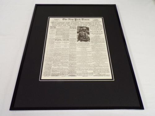 New York Times June 19 1928 Framed 16x20 Front Page Poster Amelia Earhart Flies