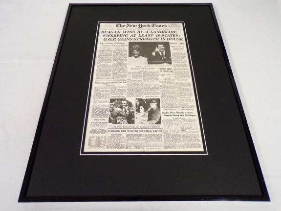 New York Times Nov 7 1984 Framed 16x20 Front Page Poster Ronald Reagan Elected