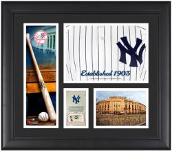 New York Yankees Team Logo Framed 15'' x 17'' Collage with Piece of Game-Used Ball - Mounted Memories