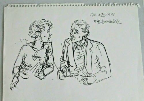 New Yorker Cartoonist William Hamilton Signed Auto Original Sketch 1/1 RARE 15X