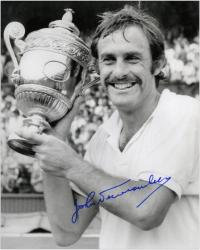 """John Newcombe Autographed 8"""" x 10"""" Holding Trophy Photograph"""