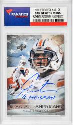 "NEWTON, CAM AUTO ""10 HEISMAN"" (2011 UPPER DECK # AA-CN) CARD - Mounted Memories"