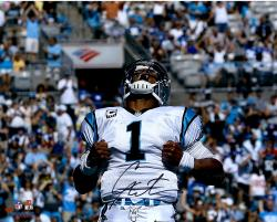 Cam Newton Carolina Panthers Autographed 16'' x 20'' Superman Photograph - Mounted Memories