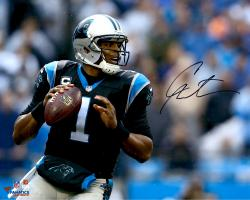Cam Newton Carolina Panthers Autographed 16'' x 20'' Horizontal Passing Photograph - Mounted Memories