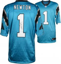 Cam Newton Carolina Panthers Autographed Nike Elite Blue Jersey - Mounted Memories
