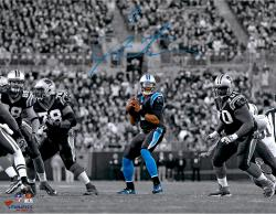 Cam Newton Carolina Panthers Autographed 11'' x 14'' Spotlight Passing Photograph - Mounted Memories