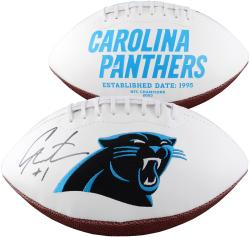 Cam Newton Carolina Panthers Autographed White Panel Football - Mounted Memories