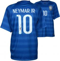 Neymar Brazil National Team Autographed Blue Jersey