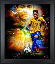 Neymar Brazil National Team Framed Autographed 20'' x 24'' In Focus Photograph