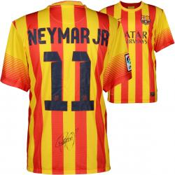 Neymar FC Barcelona Autographed Red & Yellow Pinstripe Jersey