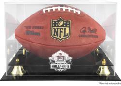 Golden Classic NFL Hall Of Fame Football Logo Display Case with Mirror Back - Mounted Memories