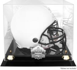 Golden Classic NFL Hall Of Fame Helmet Logo Display Case with Mirror Back - Mounted Memories