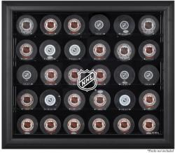 NHL Shield 30-Puck Black Display Case - Mounted Memories