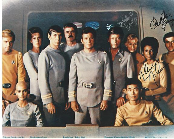 """NICHELLE NICHOLS as UHURA, WALTER KOENIG as PAUL CHEKOV, and DEFOREST KELLEY as DR. LEONARD MCCOY in """"STAR TREK"""" (DEFOREST Passed Away 1999) Signed by All Three 10x8 Color Photo"""