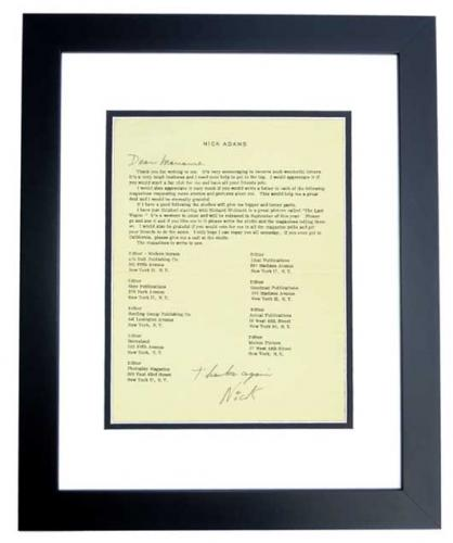 Nick Adams Signed - Autographed Fan Club Letter BLACK CUSTOM FRAME - Guaranteed to pass PSA or JSA - Deceased 1968 - The REBEL - Friends with Elvis Presley and James Dean