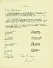 Nick Adams Signed - Autographed Fan Club Letter or Cut Signature - Deceased 1968 - The REBEL - Friends with Elvis Presley and James Dean
