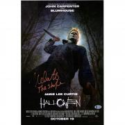"Nick Castle Halloween Autographed 12"" x 18"" Michael Myers Photograph Signed in Orange - BAS"