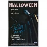 "Nick Castle Halloween Autographed 12"" x 18"" Movie Poster with ""The Shape"" Inscription - BAS"