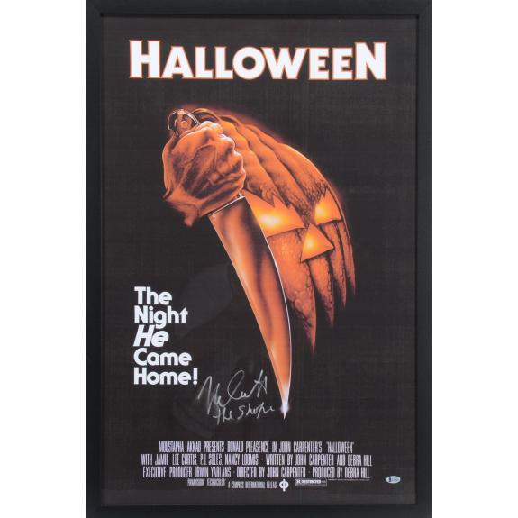 "Nick Castle Halloween Framed Autographed 38"" x 24"" Michael Myers Movie Poster with ""The Shape"" Inscription - BAS"