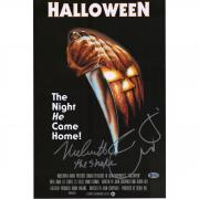 """Nick Castle & Jamie Lee Curtis Halloween Autographed 12"""" x 18"""" Movie Poster with The Shape Inscription - BAS"""