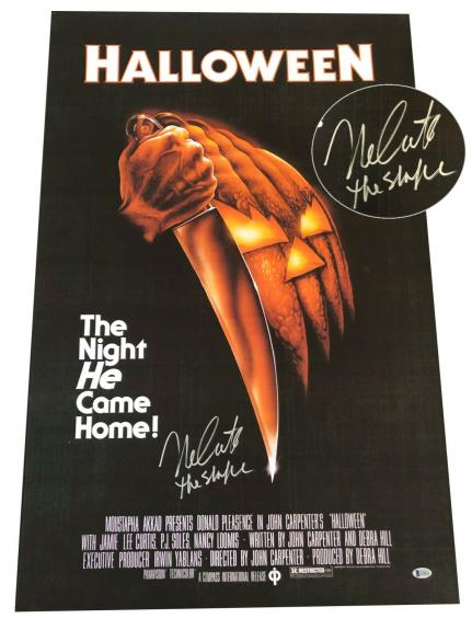 Nick Castle Signed Auto Halloween Full Size  Movie Poster Beckett Bas  3