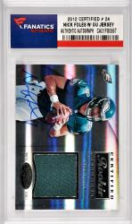 Nick Foles Philadelphia Eagles Autographed 2012 Certified Rookie Materials #24 Card With Game Used Jersey Piece Limited edition of 299