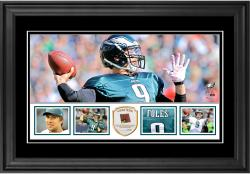 "Nick Foles Philadelphia Eagles Framed 10"" x 18""  Panoramic with Piece of Game-Used Football - Limited Edition of 250"