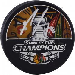 Nick Leddy Chicago Blackhawks 2013 Stanley Cup Champions Autographed Stanley Cup Logo Puck