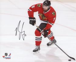 Nick Leddy Chicago Blackhawks Autographed 8'' x 10'' Red Uniform Shooting Photograph - Mounted Memories